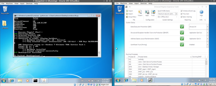 Exploiting ETERNABLUE on a Windows 7 target running EMET 5.5